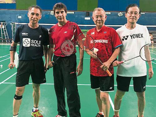 陳允上(右起)、王成旺、伊萬沙及王天林,將出戰各自年齡層的單打及雙打賽。