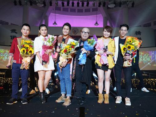 《GoGo樂元派》唱跳會獲得6名本地歌手獻唱,左起是曾國輝、蔡憶雯、吳國菲、李明錠、梁佩穎及古偉權。