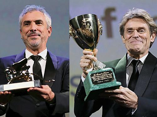 阿方索克朗(左)憑新作《羅馬》奪得威尼斯影展最高榮譽金獅獎;威廉狄福扮演畫家梵谷,在威尼斯影展稱帝。