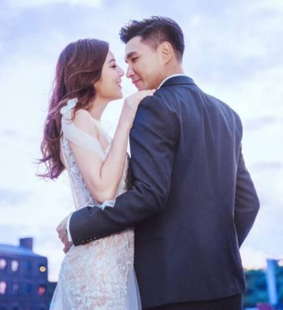 單文柔(左)與陳展鵬在歐洲拍婚紗照。