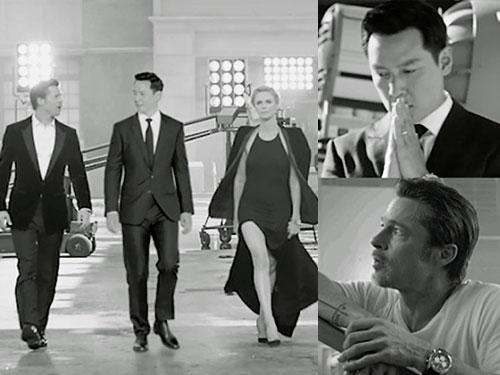 畢彼特、吳彥祖與查理絲特朗身處片場,展現專業一面。