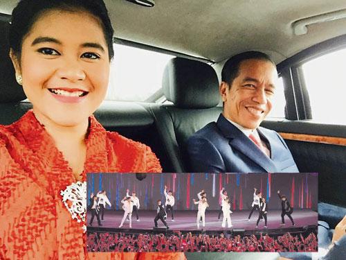 印尼總統佐科威與愛女。 小圖為Super Junior早前獲邀參加亞運閉幕禮演出。