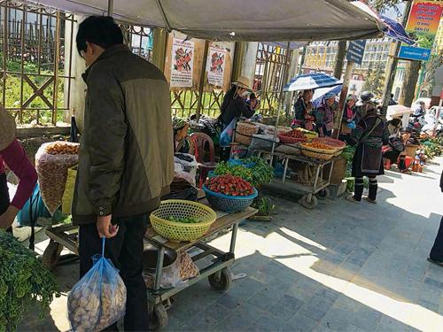 鎮裡的菜市場都售賣著自家種植的蔬菜。