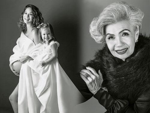 左圖:Elaine Daly把握即將生產的時間,與長女留下這張溫馨影像。 右圖:今年85歲的楊女士表示,自己從未有過如此專業的拍攝經驗,相當難忘。