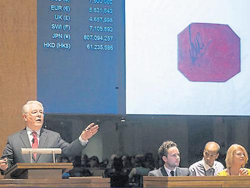 蘇富比拍賣行在2014年拍出史上最貴郵票,那是1856年英屬圭亞那期間發行的洋紅色帶有黑色手寫字樣,面值1分的單枚郵票。
