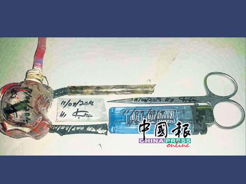 突擊行動期間,起獲毒品和吸毒工具。小圖為警方逮捕嫌犯調查。