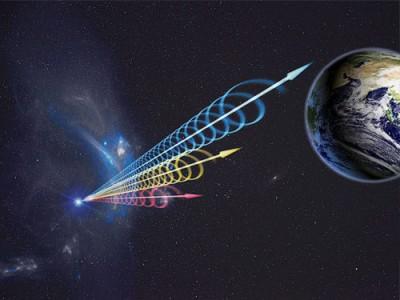 """來自矮星系""""FRB 121102""""的快速電波爆發(FRB)示意圖。"""