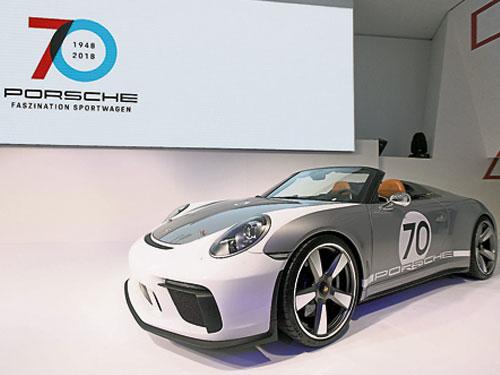 保时捷911增值空间最高;图为保时捷70周年911 Speedster概念车。