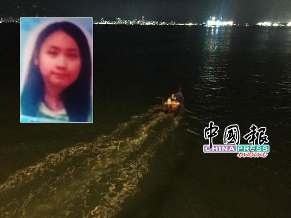 搜救人员乘船在女子坠海处的附近海域,展开搜救工作。小图为坠海失踪的22岁华裔女子许淑卿。