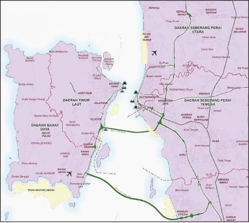 2030年槟州结构大蓝图显示,已圈定多个地区为填海区。(地图黄色区域为填海区)