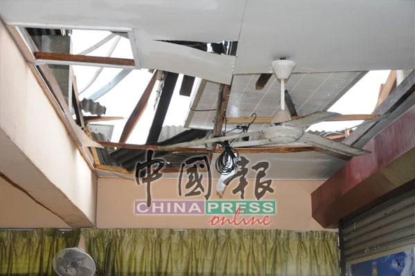 风灾袭击,吉华华中多栋建筑物遭摧毁,五名学生受伤。