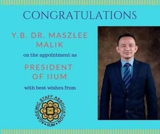 國際伊斯蘭大學祝賀馬智禮受委出任該大學主席。