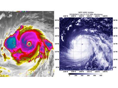 NASA與美國氣象局實拍山竹變大眼颱風,風眼直徑來到48公里。