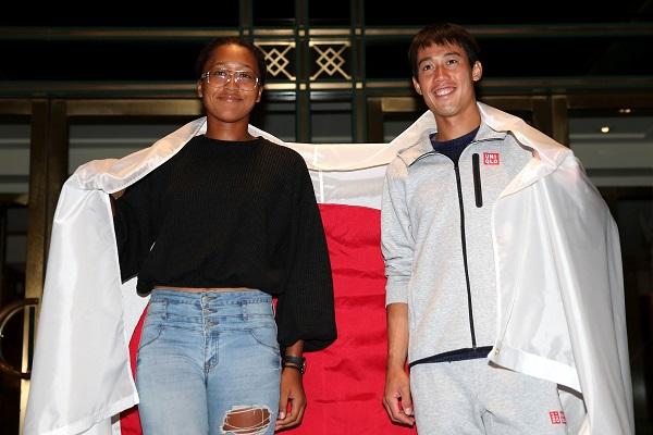 ■錦織圭(右) 與大阪直美創造日本網球歷史。(法新社)