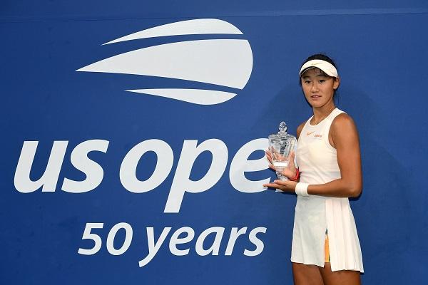 ■王曦雨創造了中國在大滿貫青少年女網賽的紀錄。(法新社)