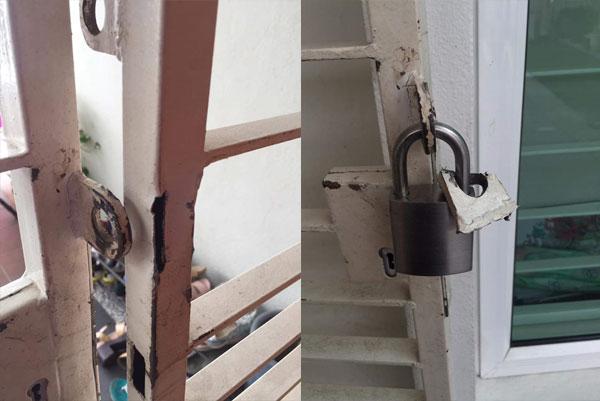 窃匪潜入摆空城的住家,不到数分钟就撬开铁门。