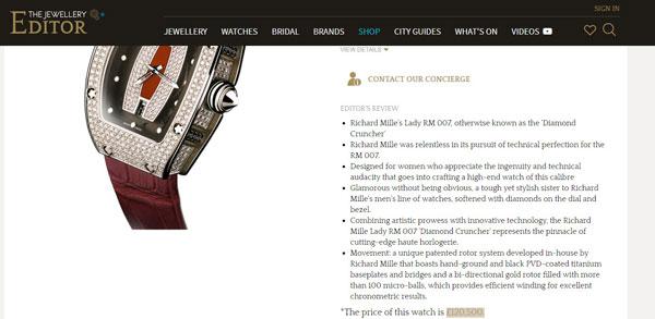 根据珠宝网站价钱显示,理查德/米勒RM007钻石女装表价值12万500英镑(逾45万令吉)。