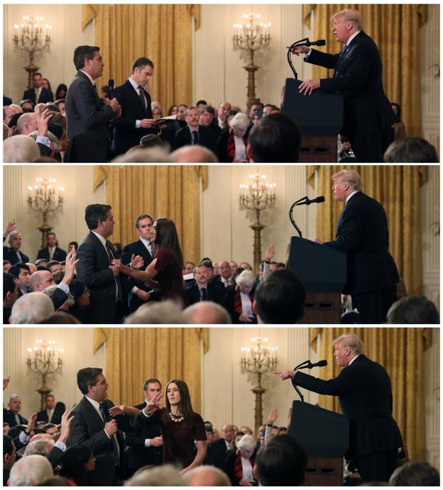 特朗普指骂阿科斯塔(左),职员则抢他的麦克风的连环图。(路透社)