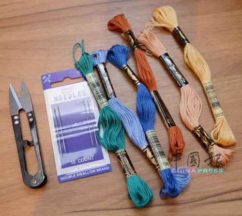 刺绣是针线活儿,自然需要用到绣线、绣针。