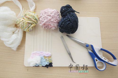 毛线、剪刀、镊子是编织的基本工具和材料。