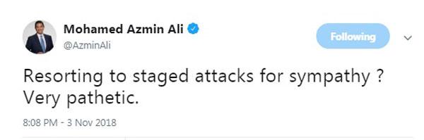 阿兹敏推特贴文讥讽拉菲兹博同情。