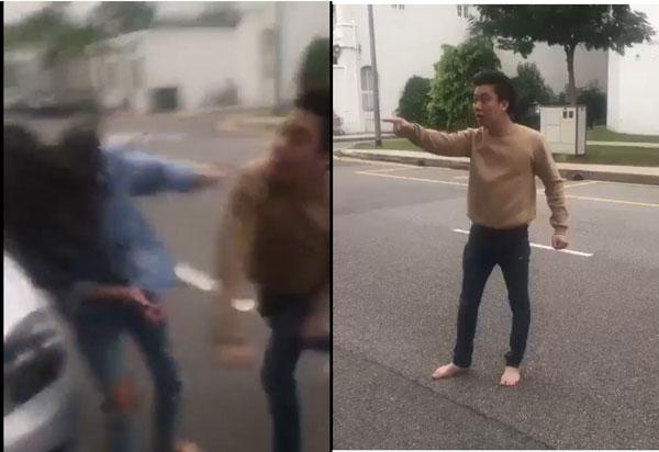 打女人的男子。