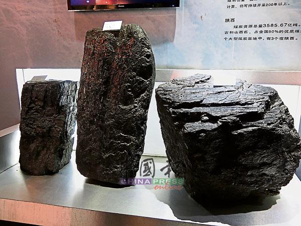 馆藏三大类煤炭,左起是焦煤、无烟煤及弱黏煤,它们各有不同的特性和用途。