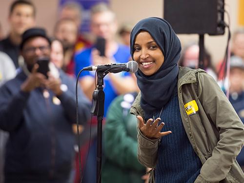 民主党籍的奥玛赢得明尼苏达州众议院议席。(欧新社)