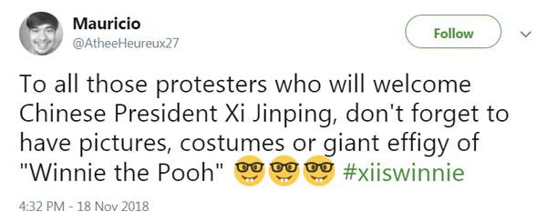 有网民号召,贴出大量小熊维尼画面来抗议习近平出现。