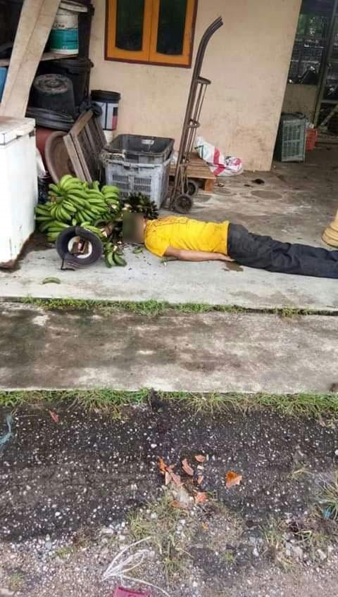 因盗窃一串香蕉而被人打死的小偷尸体。
