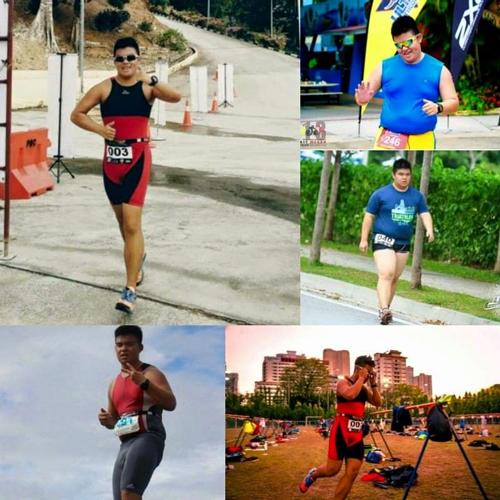 左上起顺时针为陈学谦2016年5月体重81公斤时身影、2015年减肥后参加赛事体重110公斤、同年减肥前体重120公斤身影、2016年参赛时的身影,及同年参加吉辇国际铁人赛时体重90公斤身影。