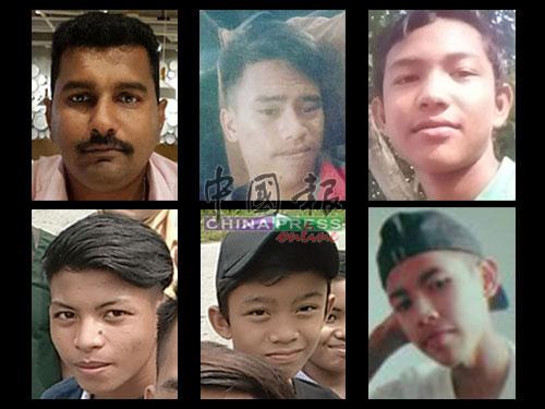 上排左起:印裔店主迪阿嘉拉(40岁)、莫哈末阿兹哈(19岁)、阿末法以扎(16岁)下排左起:莫哈末诺依卡(17岁)、莫哈末益马(16岁)、莫哈末诺艾曼(17岁
