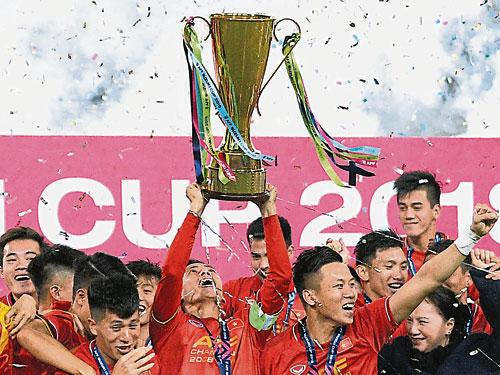 越南阔别10年再夺得东锦赛冠军。(法新社)