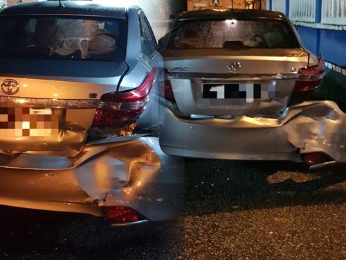 廖韵龄的轿车后部被前夫开车猛撞后毁坏不堪,显示当时冲击力猛烈。