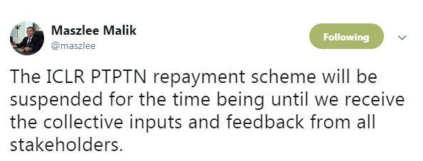 马智礼宣布暂停落实强制扣薪偿还PTPTN贷款。