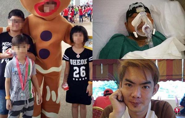 (左图)陈清源的家人只保留了3年前孩子的照片,如今3名孩子已14岁、10岁和9岁。(右图)38岁陈清源患上脓血症17年,今年初开始情况恶化,一年来进出医院8次。