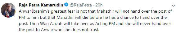拉惹柏特拉推文指安华目前最大的恐惧,就是担心马哈迪在交棒前去世。