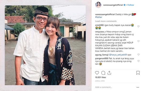华安琪在Instagram展示她与父亲的合照。