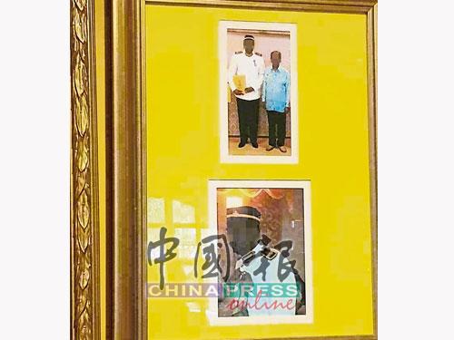 """徐世荣出示""""拿督斯里""""的受封照。"""