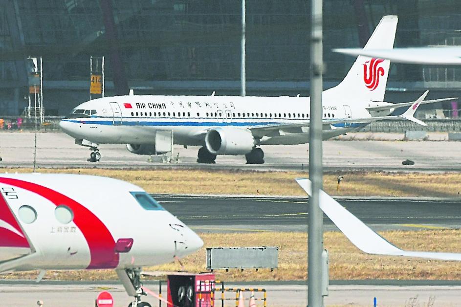 中國國際航空的波音737 MAX 8客機檔安照。(法新社)