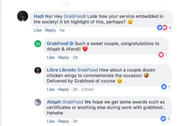 GrabFood透过官方面子书祝贺莫哈末阿凡迪和诺阿蒂卡夫妇