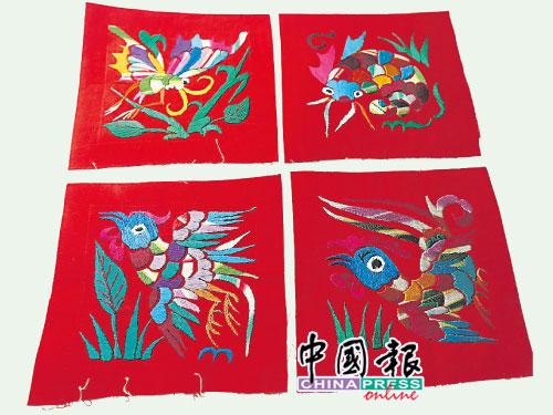 刺绣绣制的图案,除了有美丽吉祥的花卉,还有动物与昆虫为素材。