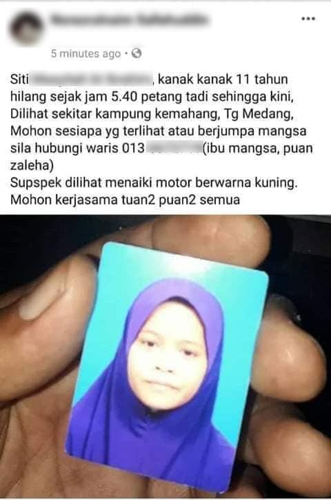 死者西蒂玛依达失踪期间,家属曾在面子书发布消息,促网民提供消息。