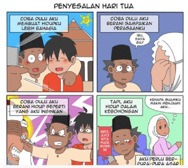 @Alpantuni的穆斯林同性恋漫画,在印尼引起轩然大波。