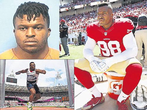 """奥克耶""""卖淫""""被捕后的警方档案照(左上图)。左下图为他在伦敦奥运会以6公分之差错过奖牌,在转换跑道,在美式足球联赛闯出了一定的知名度(右图)。"""