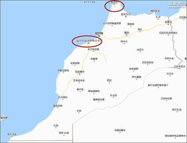 卡萨布兰卡和丹吉尔两个城市,距离约342公里。