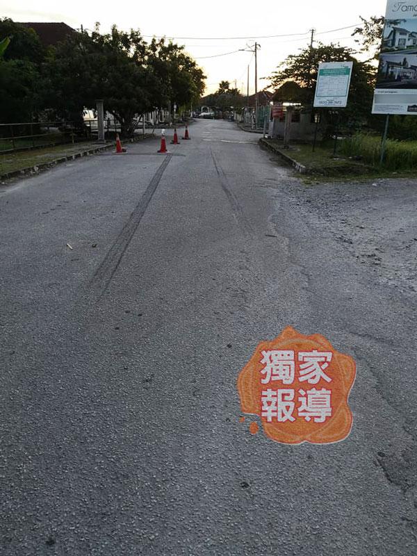 賴渭航車禍的現場,親友在隔日現場勘查時,看到路面留下很長的煞車痕。