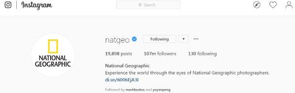 NatGeo官方IG追随者目前已达到1亿700万人。