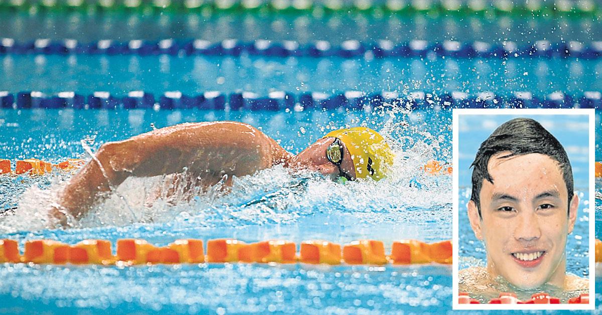 沈威胜在男子400公尺自由泳一马当先,大热夺冠。小图为黄锦富。