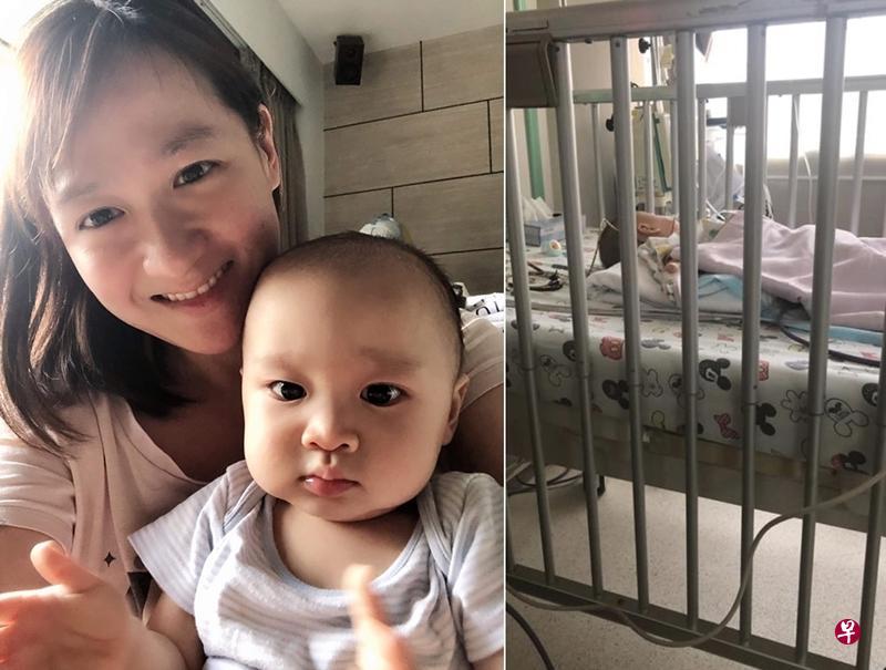 萧佩玲的儿子日前患上肠套叠,在医院动手术后康复。(取自面书)
